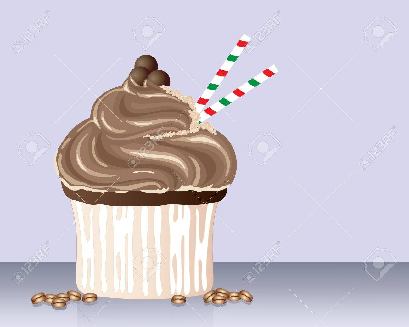 an illustration of cappuchino flavored cupcake with frothy frosting chocolate decoration and stipey straws with scattered coffee beans Stock Vector - 19139381