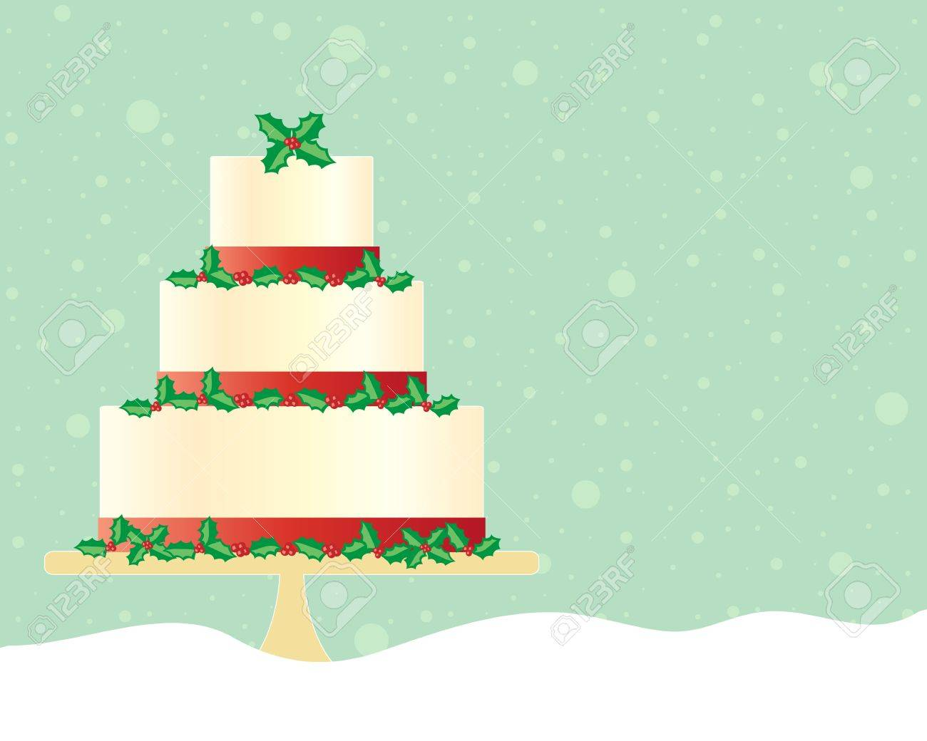 an illustration of a festive christmas cake in greeting card format decorated with red ribbon and seasonal holly with a green snowy background Stock Vector - 21859319