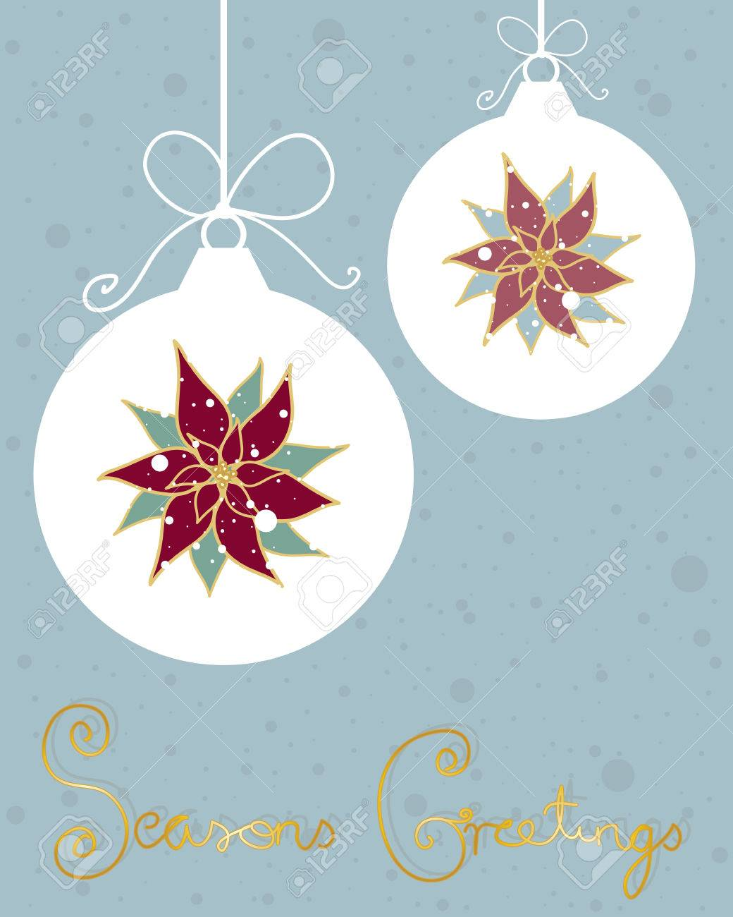 An illustration of a christmas greeting card design with an illustration of a christmas greeting card design with pointsettias baubles and bows on a jade m4hsunfo