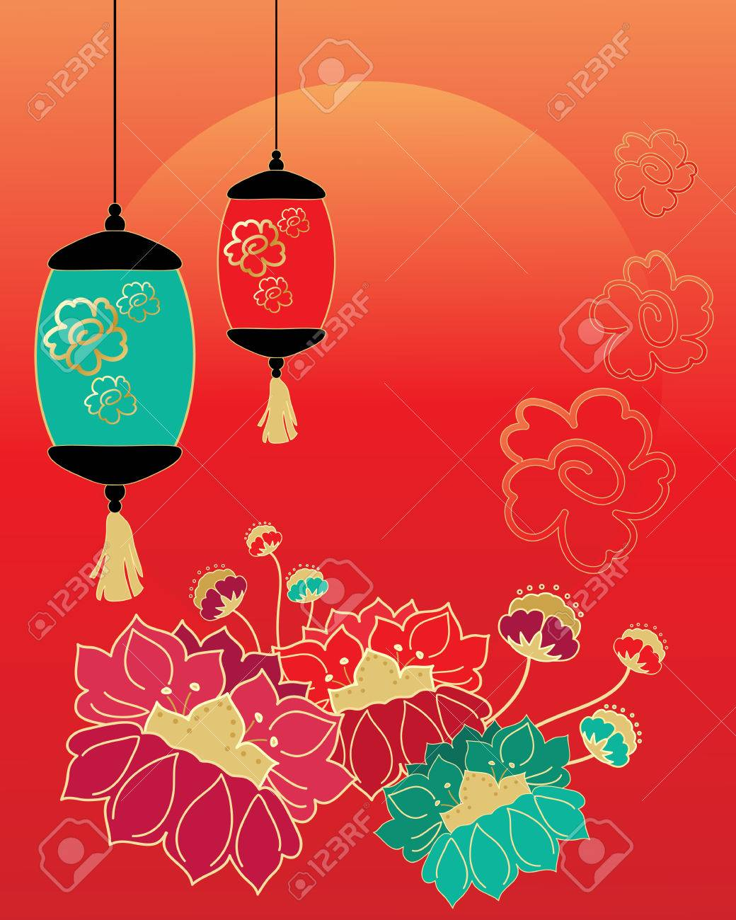 an illustration of a chinese new year celebration greeting card design with stylized flowers lanterns and