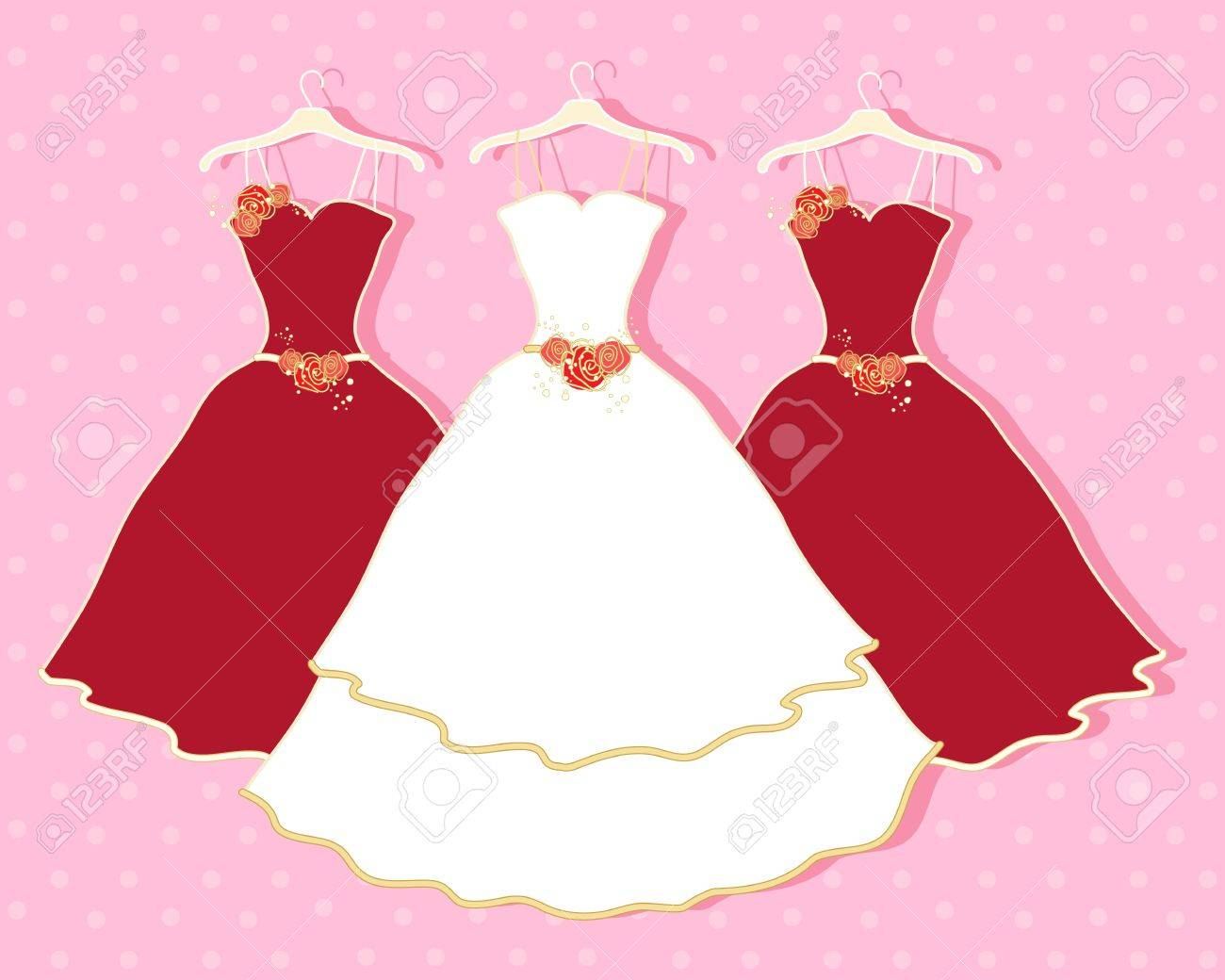 Red And White Wedding Dress.An Illustration Of A White Wedding Dress And Two Red Bridesmaid