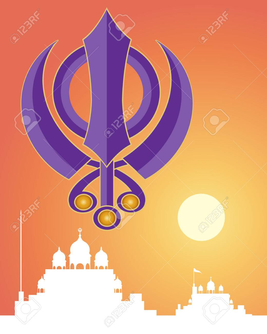 An illustration of the holy sikh symbol in purple with white an illustration of the holy sikh symbol in purple with white gurdwara architecture on a sunset biocorpaavc