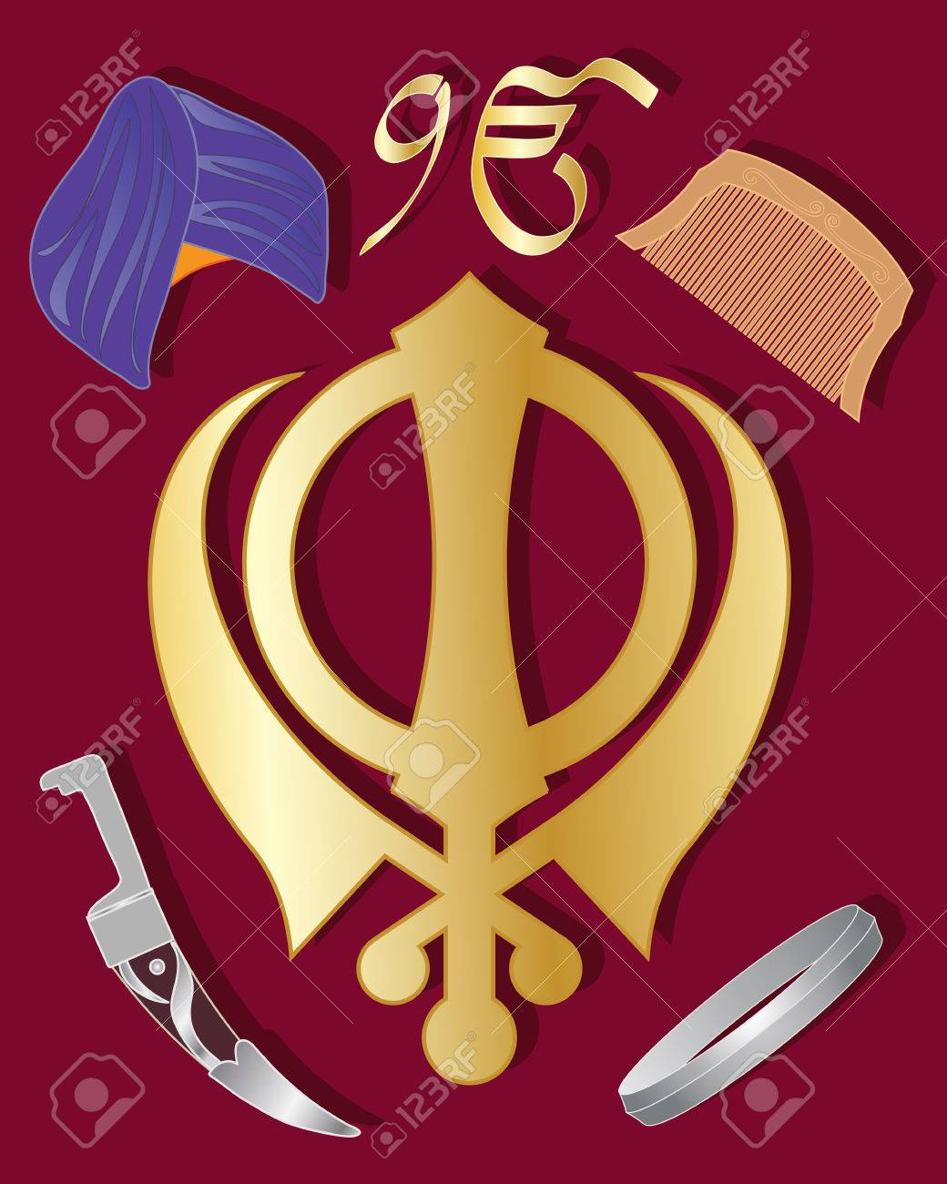 Symbol of khalsa image collections symbol and sign ideas an illustration of the holy symbol of sikhism in gold with an illustration of the holy buycottarizona