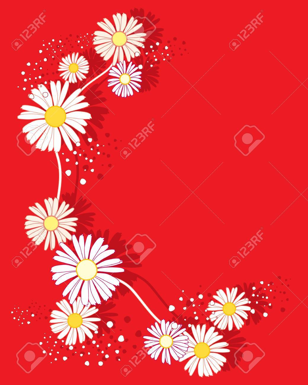 An Illustration Of A Summer Daisy Flower Design On A Bright Red