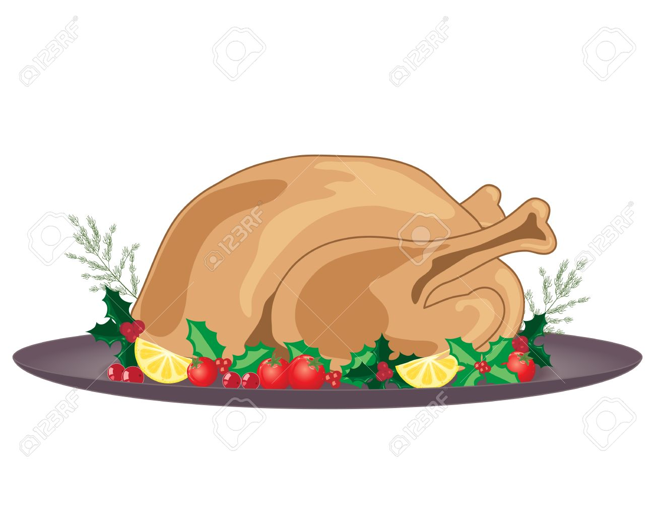 an illustration of a cooked and dressed christmas turkey with holly decoration and gray plate on  sc 1 st  123RF.com & An Illustration Of A Cooked And Dressed Christmas Turkey With ...