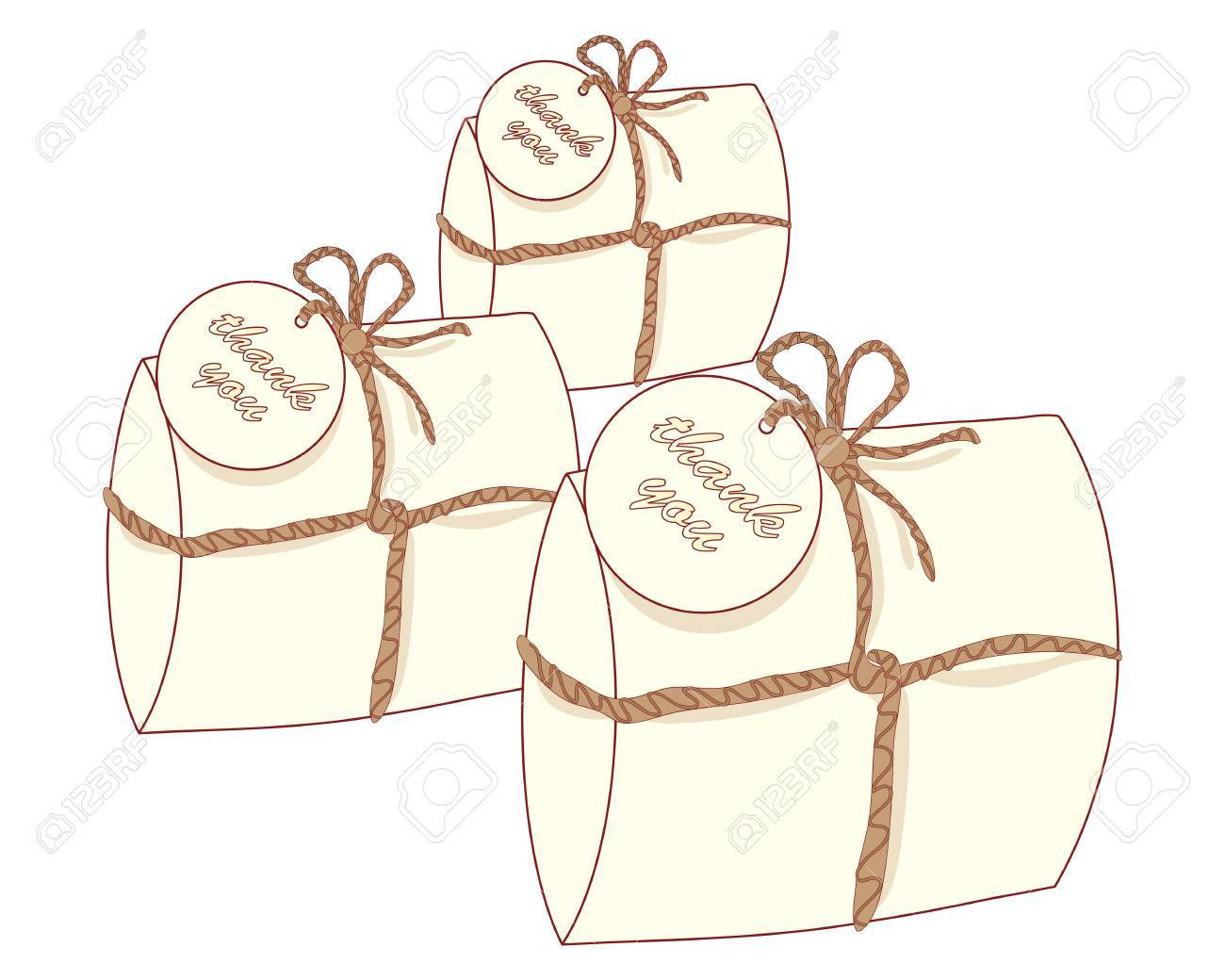 An Illustration Of Three Small Decorative Gift Packages With ...
