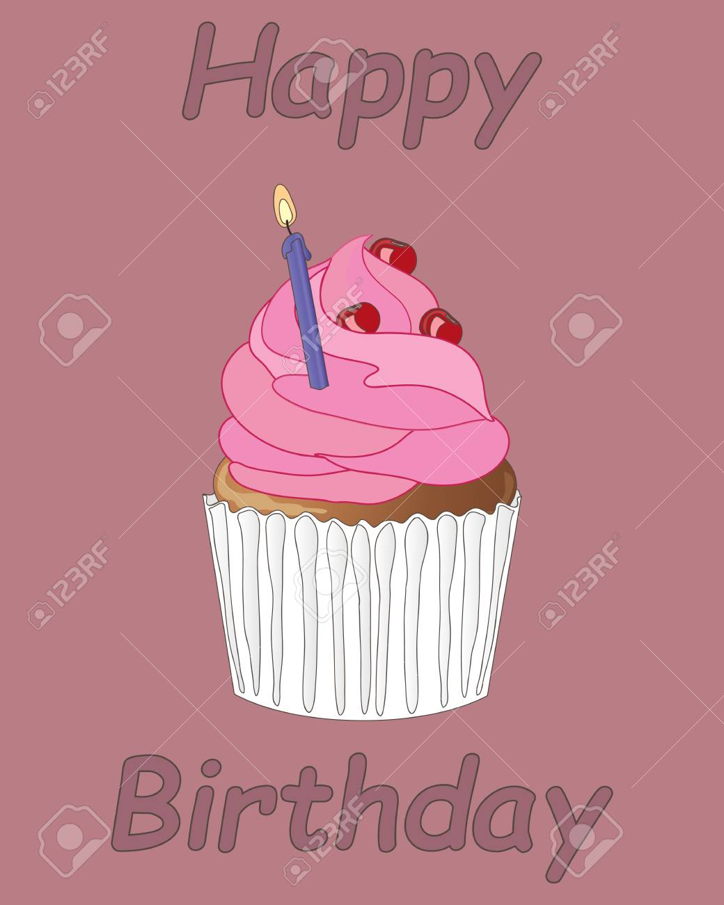 Illustration Of An Individual Birthday Cake With Pink Frosting