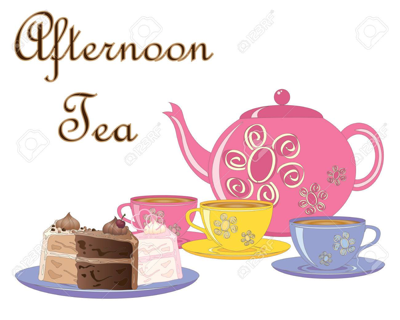 An Illustration Of A Selection Of Fancy Cakes Teapot And Tea Royalty Free Cliparts Vectors And Stock Illustration Image 81504952