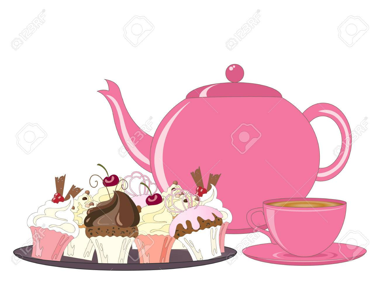 an illustration of a selection of decorated cakes teapot and tea cup for an afternoon tea on a white background - 81570091