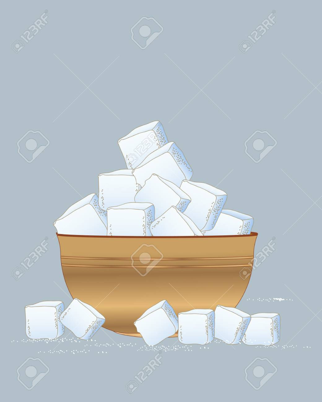 An illustration of a wooden bowl of sugar cubes scattered with sugar granules on a slate blue background - 88432767