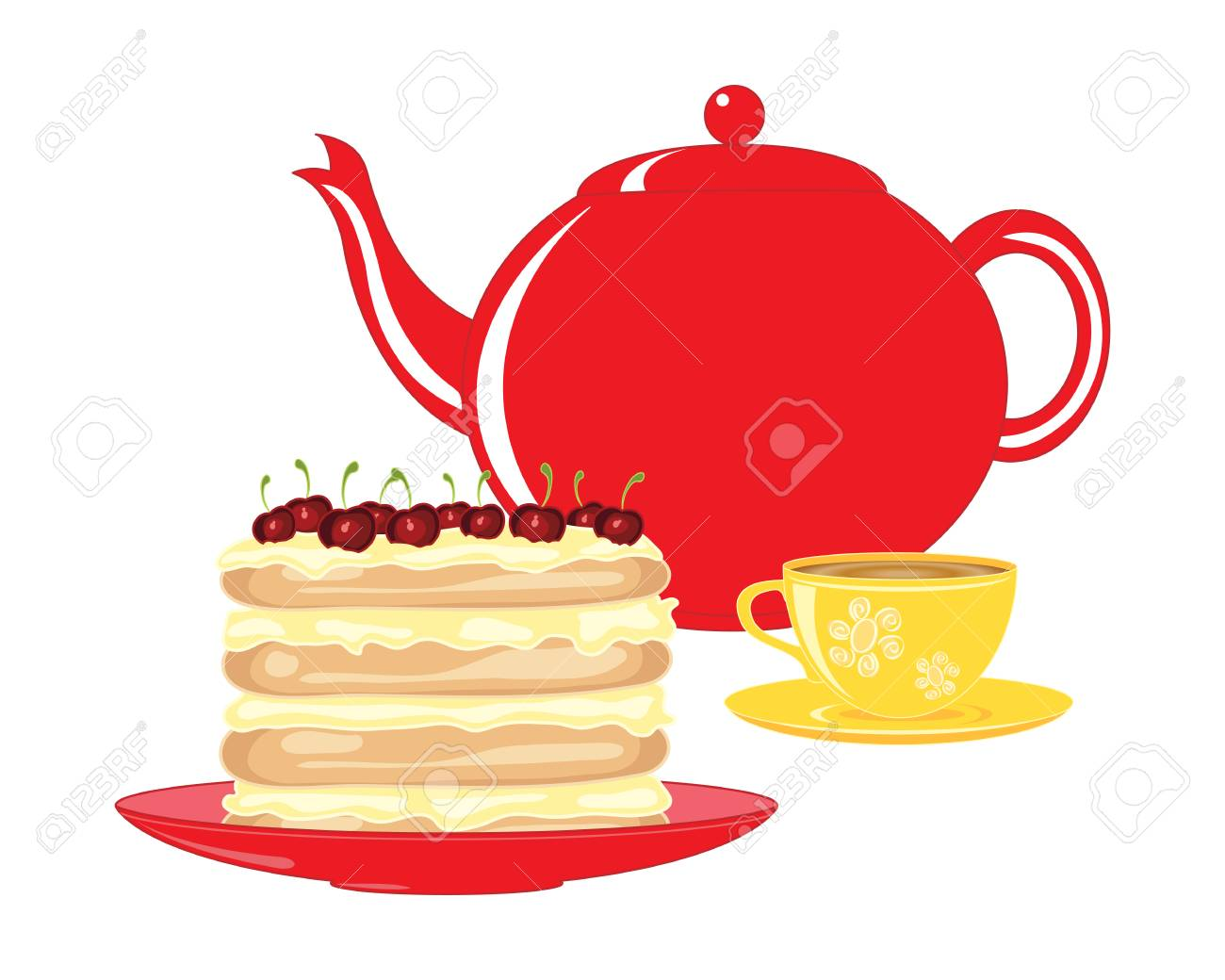 an illustration of a red teapot with bright yellow decorated tea cup and a beautiful cherry layer cake on a white background - 104344971