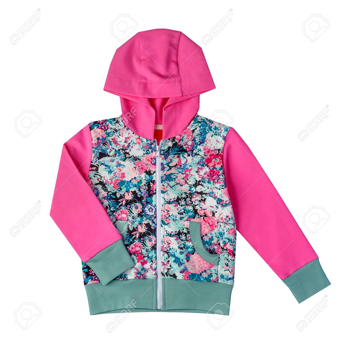 0331acaa3123 Children s Jacket With A Hood Of Pink Color Isolated On A White ...