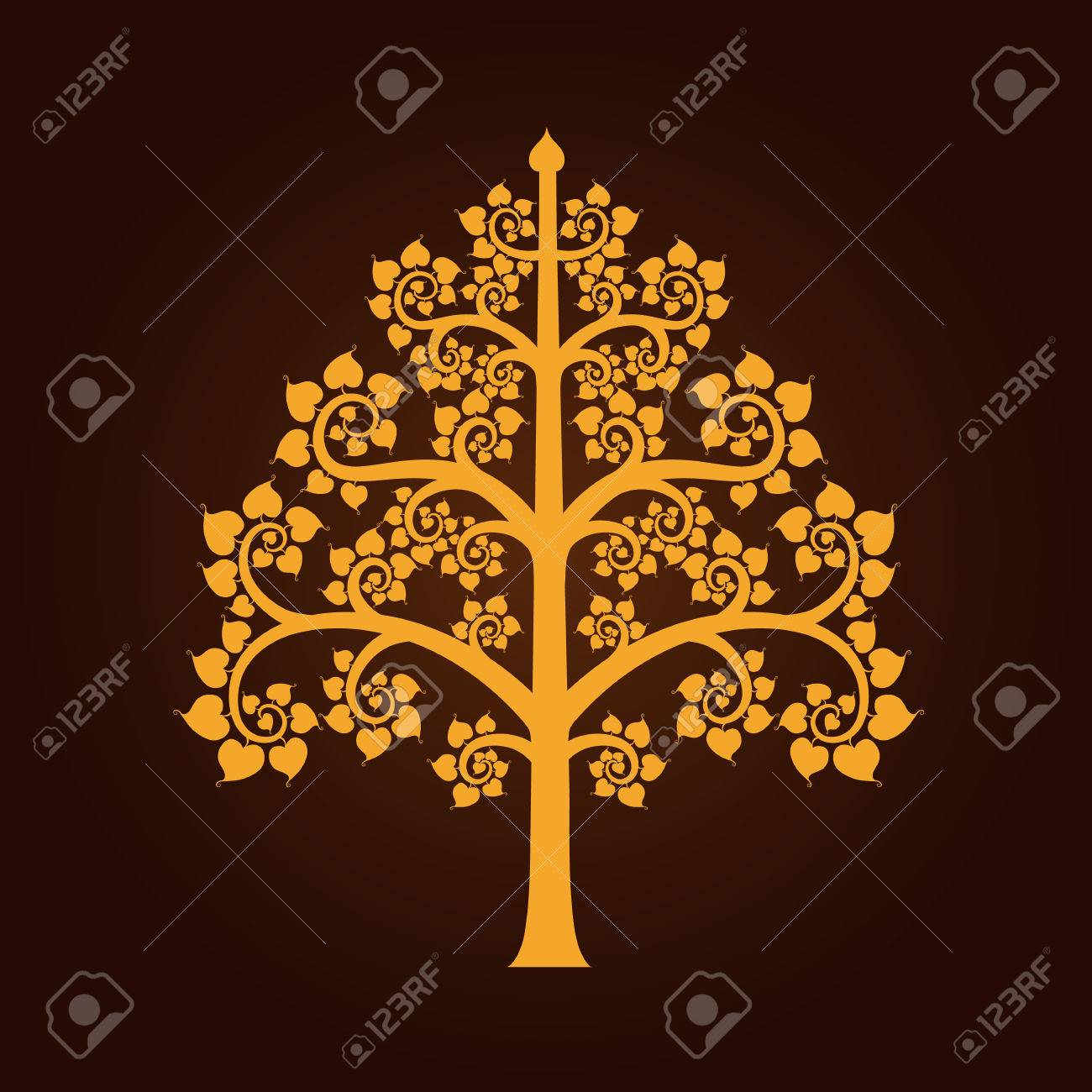 858 buddha tree stock illustrations cliparts and royalty free golden bodhi tree symbol with thai style isolate on black background vector illustration illustration biocorpaavc Choice Image