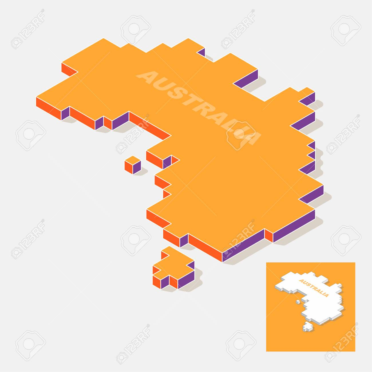 Australia Continent Map Element With 3D Isometric Shape Isolated ...