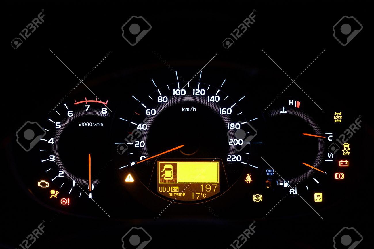 Auto indicator board - closeup of car dashboard - 7477977