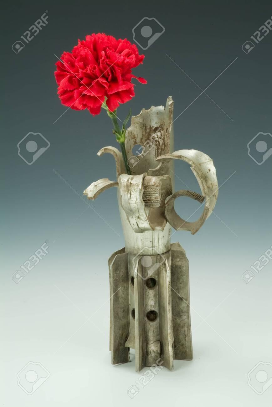 Detonated mine and carnation on a studio background - 128431586