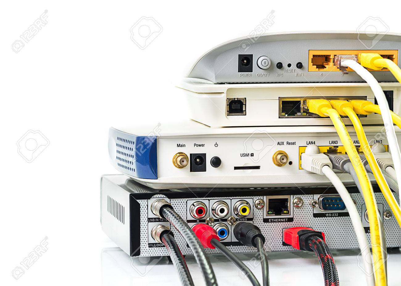 Modem router network hub with cable connecting Stock Photo - 32048363