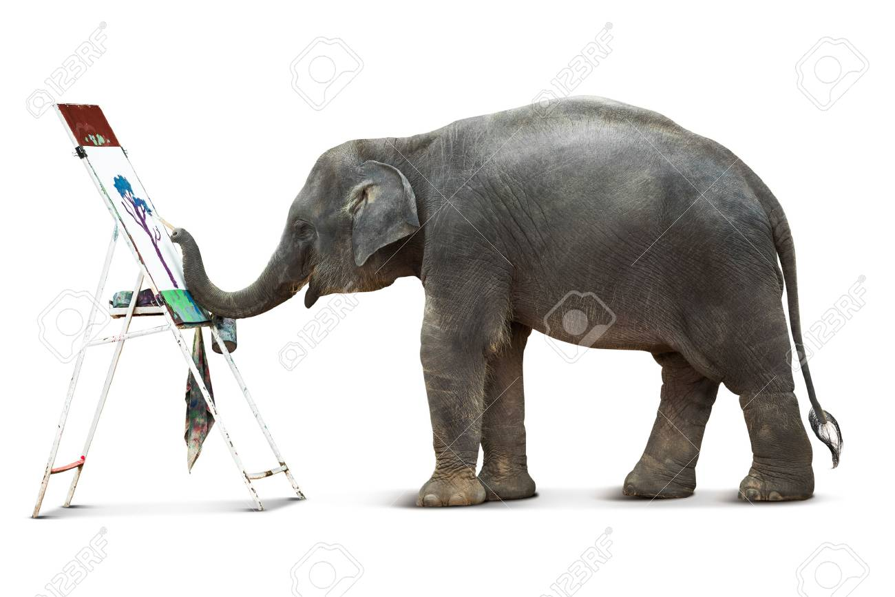 Artiste éléphant Mignon Dans Laction De Peindre Limage Isolé Sur