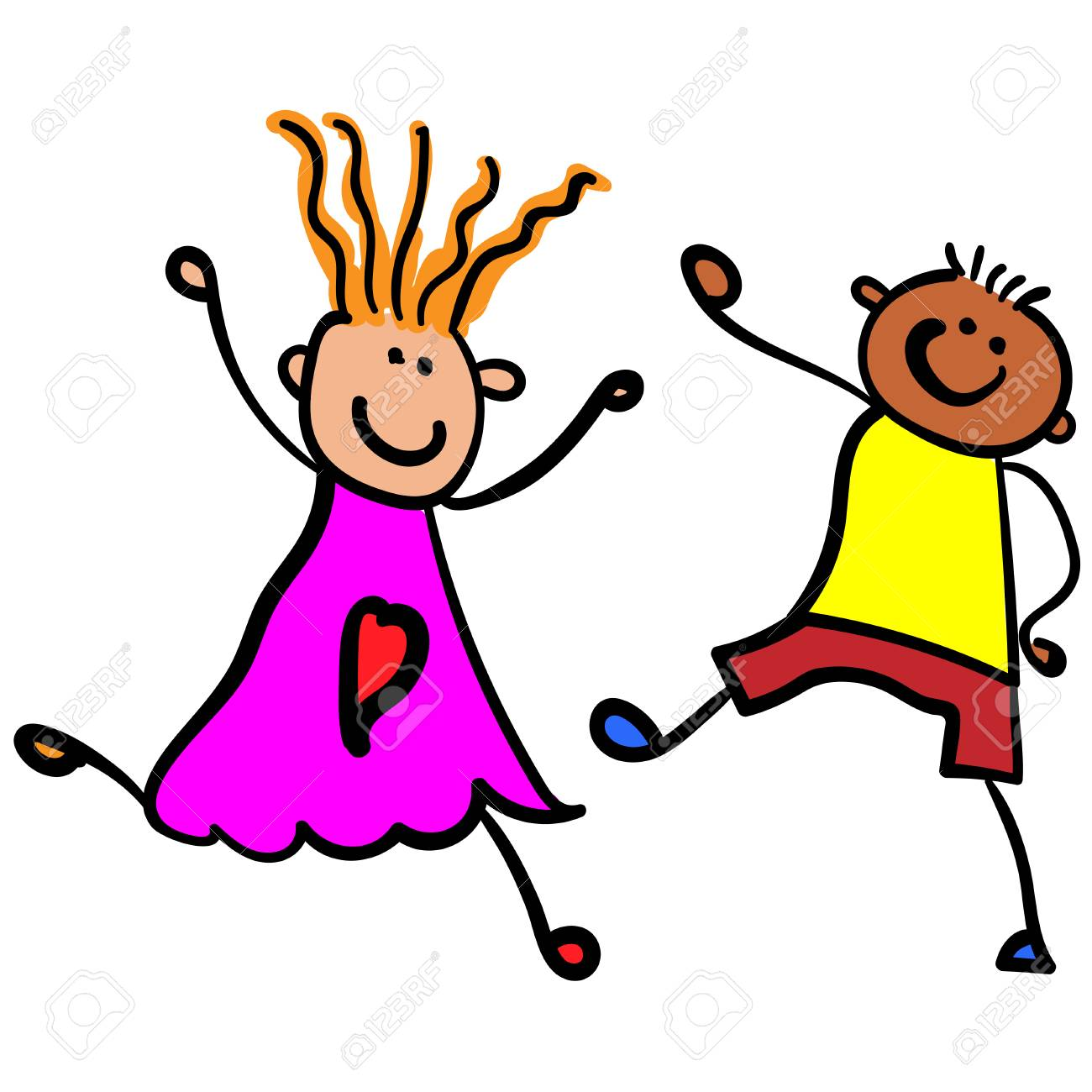 Children Playing Boy With Girl Style Of Childrens Drawing Stock Photo Picture And Royalty Free Image Image 113298406