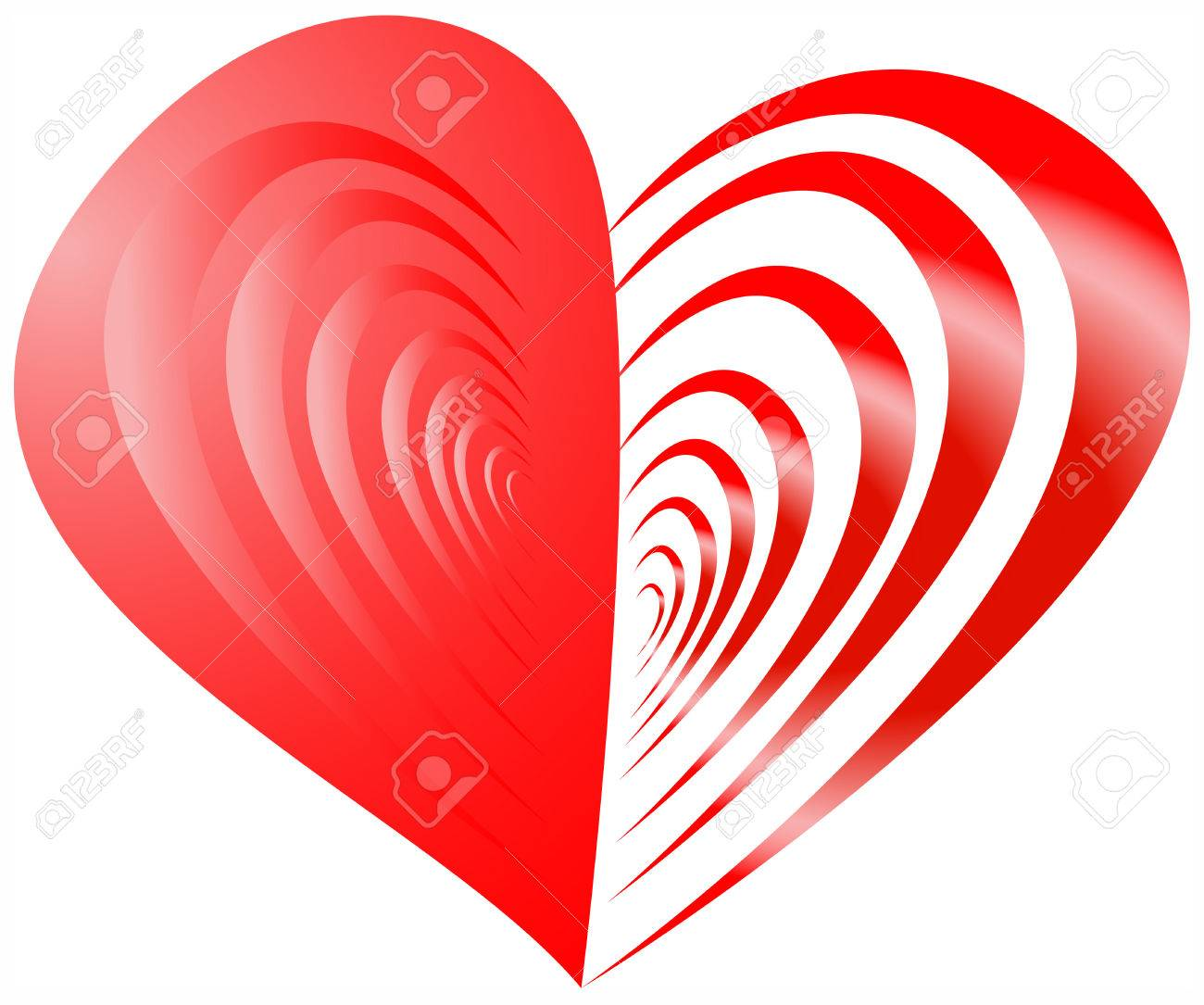Heart stock illustration royalty free illustrations stock clip art - Red Heart With One Half From Strips Stock Vector 3732852