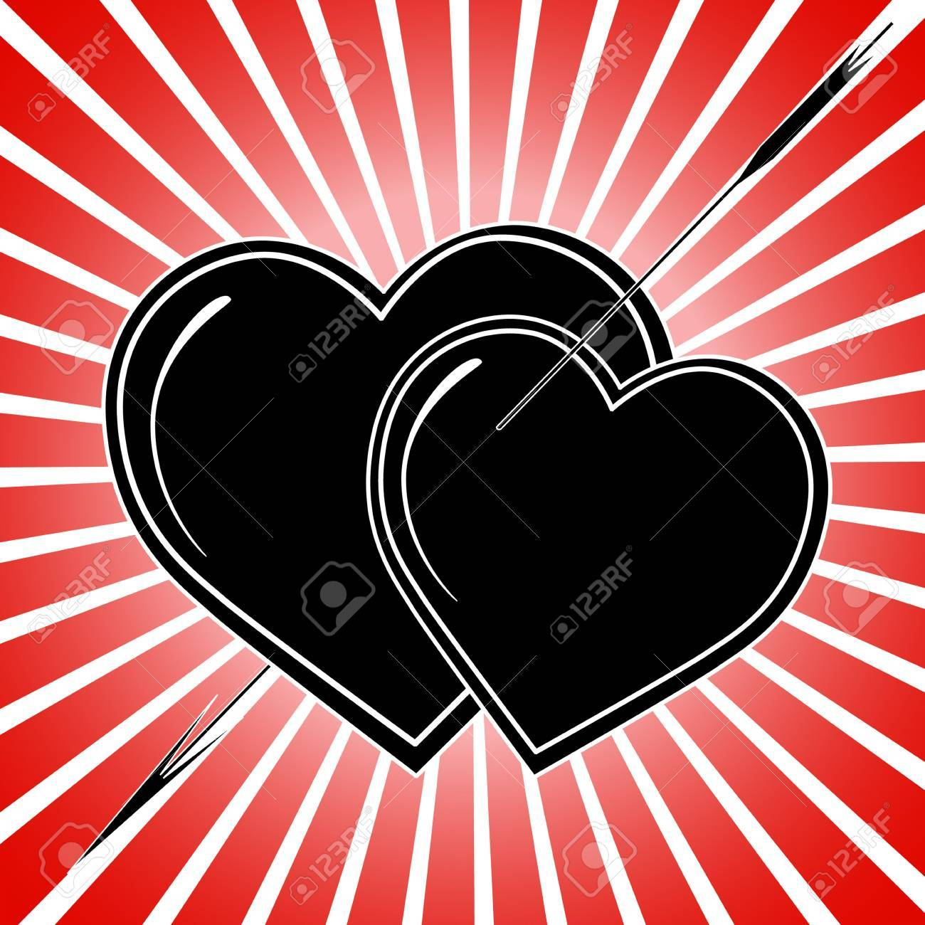 Valentine's card black, white and red, tattoo Stock Photo - 4585536
