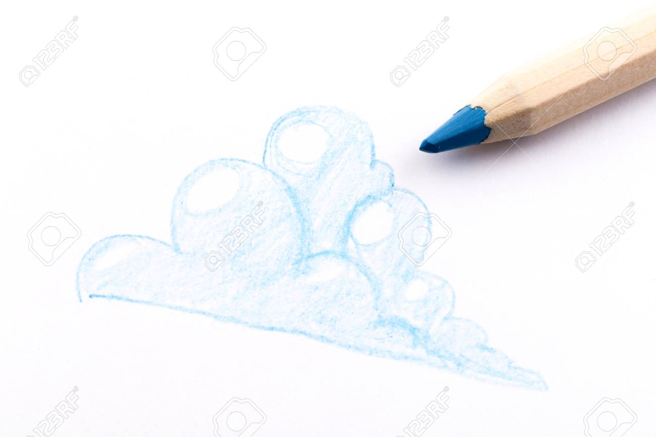 Blue pencil drawing on white background cloud