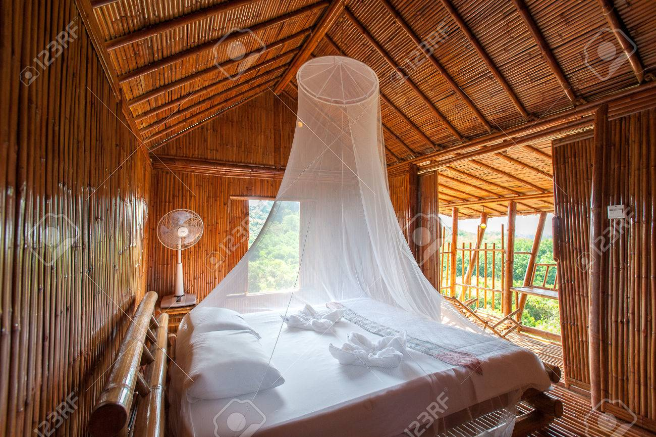 Rural Style Bedroom With Canopy Bed Bamboo Decorated Very Stock