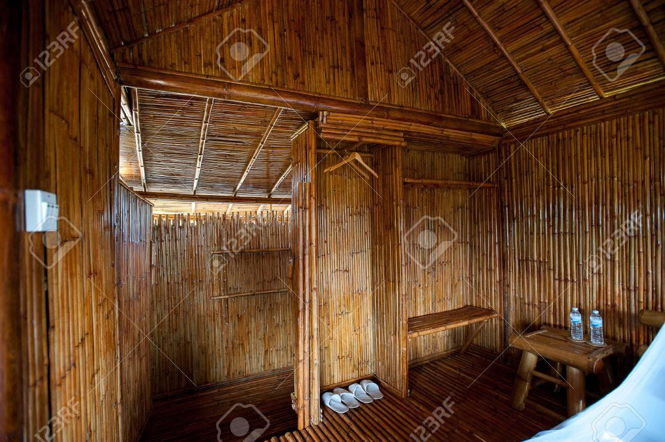 Bathroom Bamboo With Masonry Shower Cubicle And Bathtub Stock Photo ...