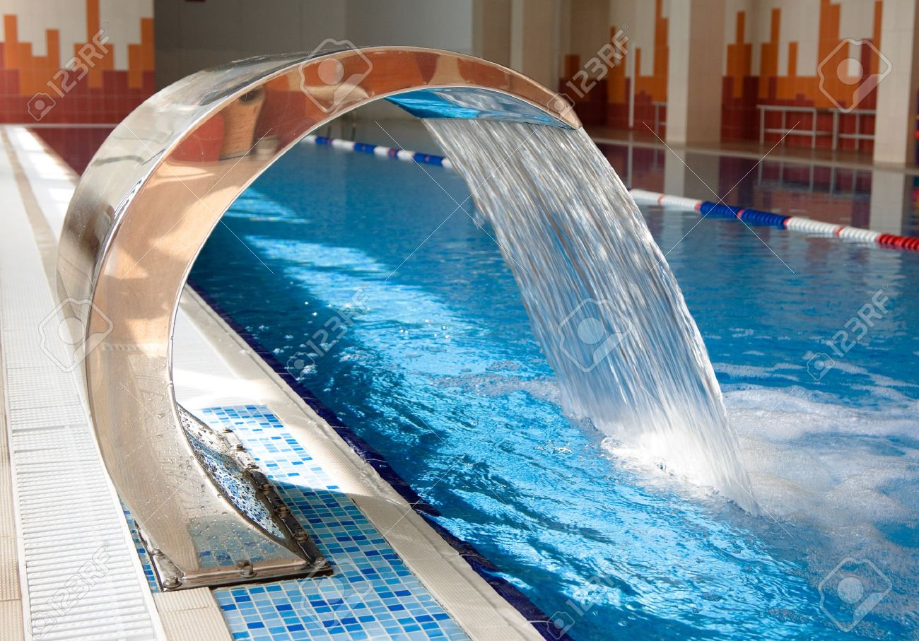 Artificial Waterfall in the swimming pool