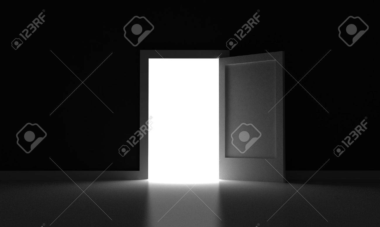 Open Door In A Dark Room With Light Outside Stock Photo Picture And