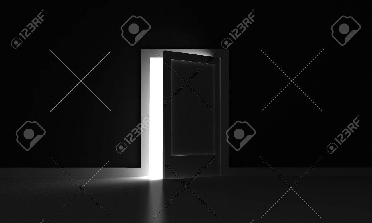 Open Door Dark Room open door in a dark room with light outside stock photo, picture