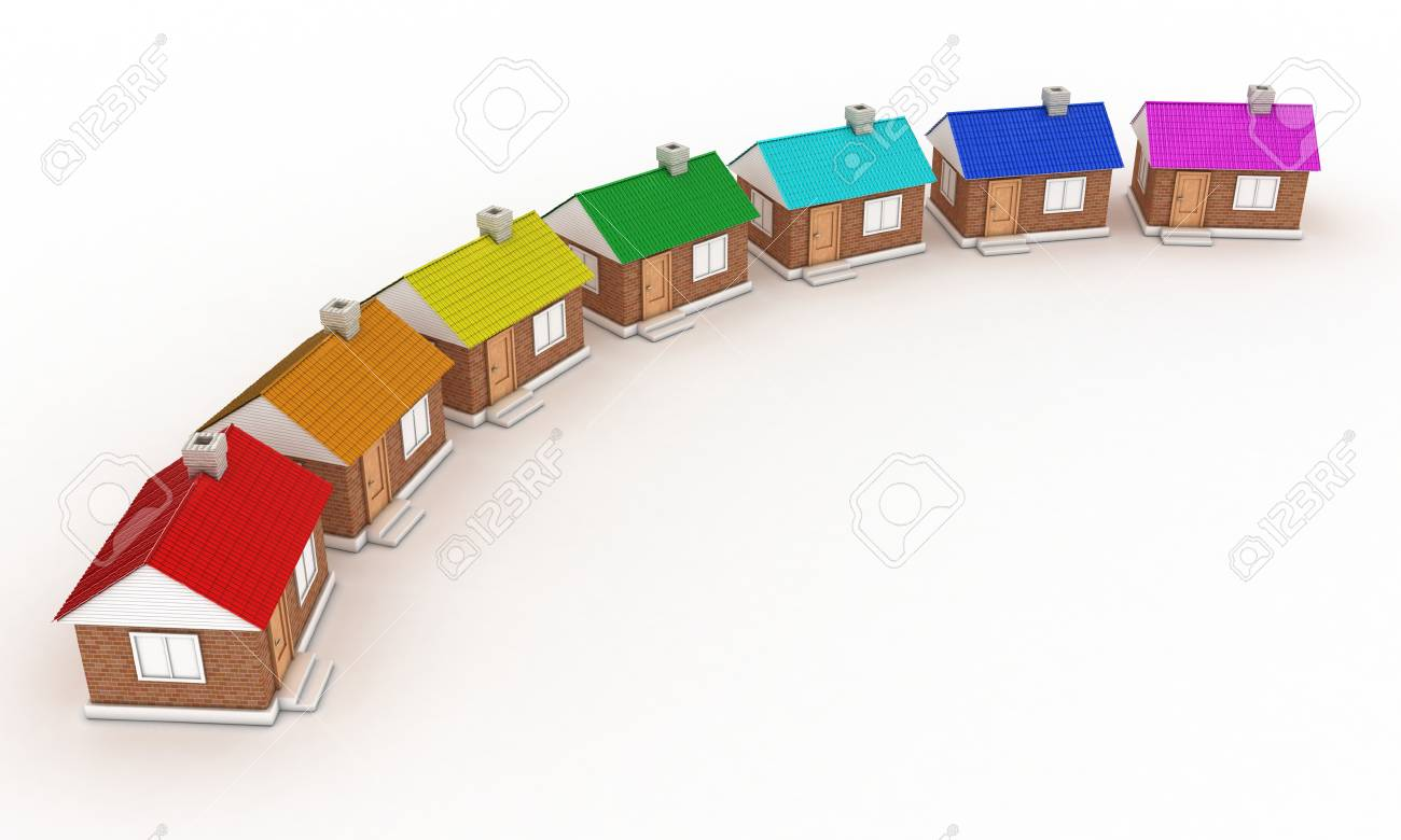Illustration of seven houses with colour of a rainbow Stock Illustration - 11023923