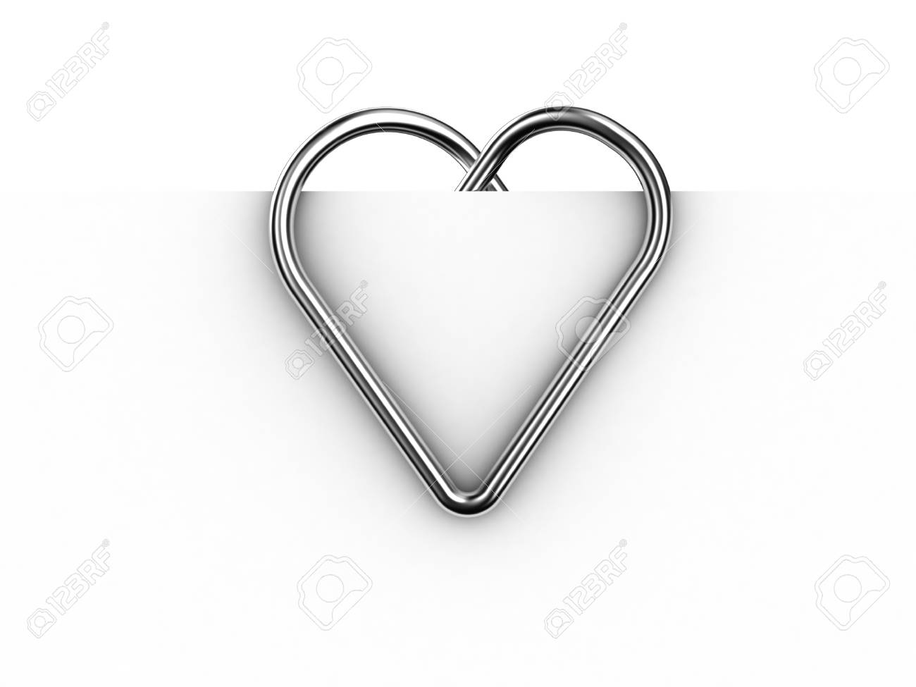 Paper clip illustration in the form of heart on a sheet of paper Stock Illustration - 11183155