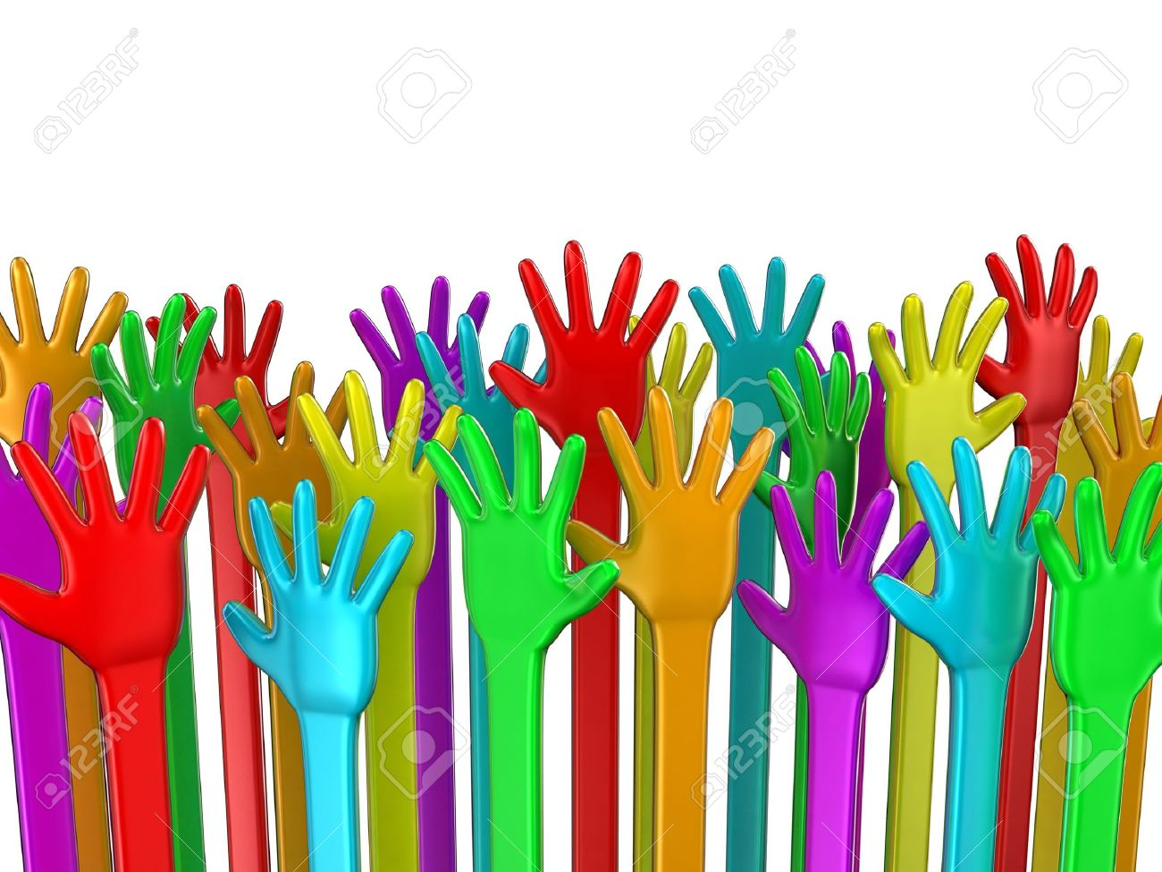 Illustration of hands of the different colours lifted upwards Stock Photo - 11279890