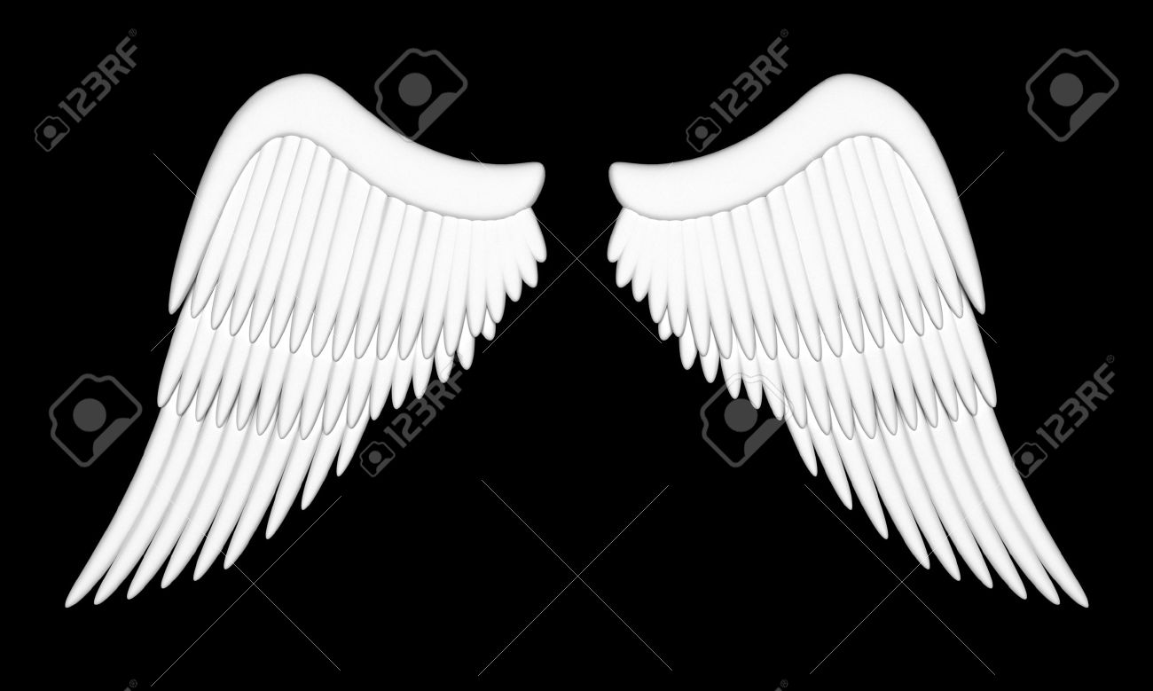 黒い背景に天使の羽のイラスト の写真素材画像素材 Image 12598450