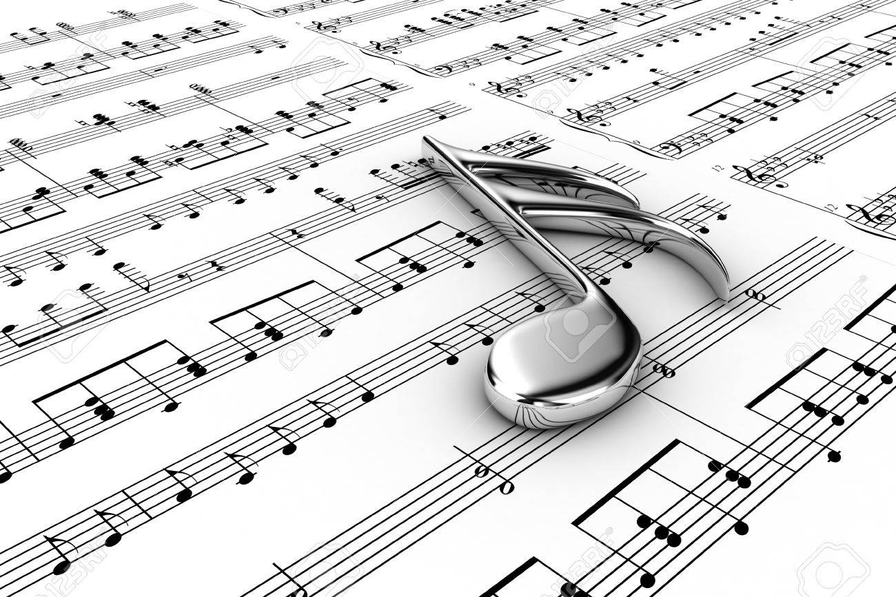 Silver musical note on a  background written notes Stock Photo - 13180808