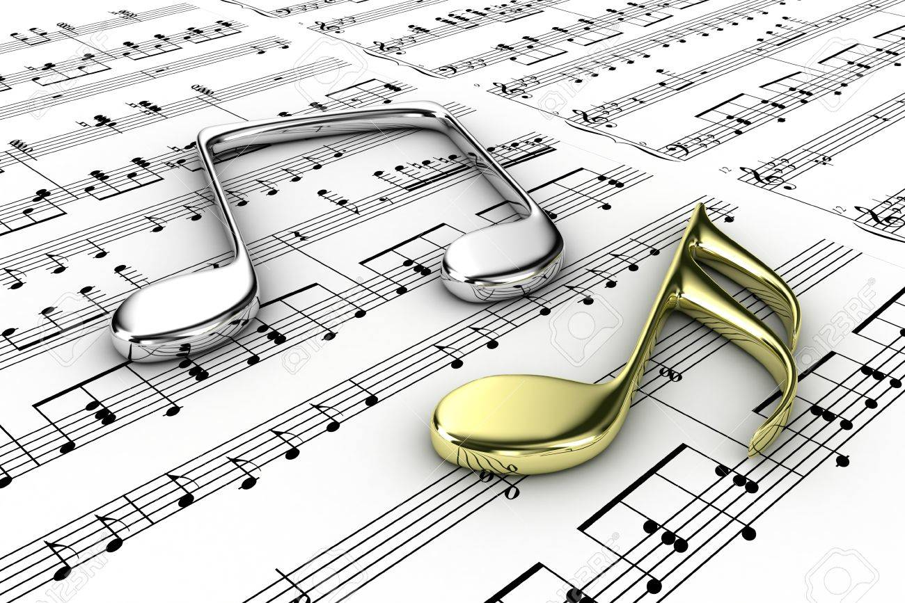 Two musical note on a  background written notes Stock Photo - 14013397