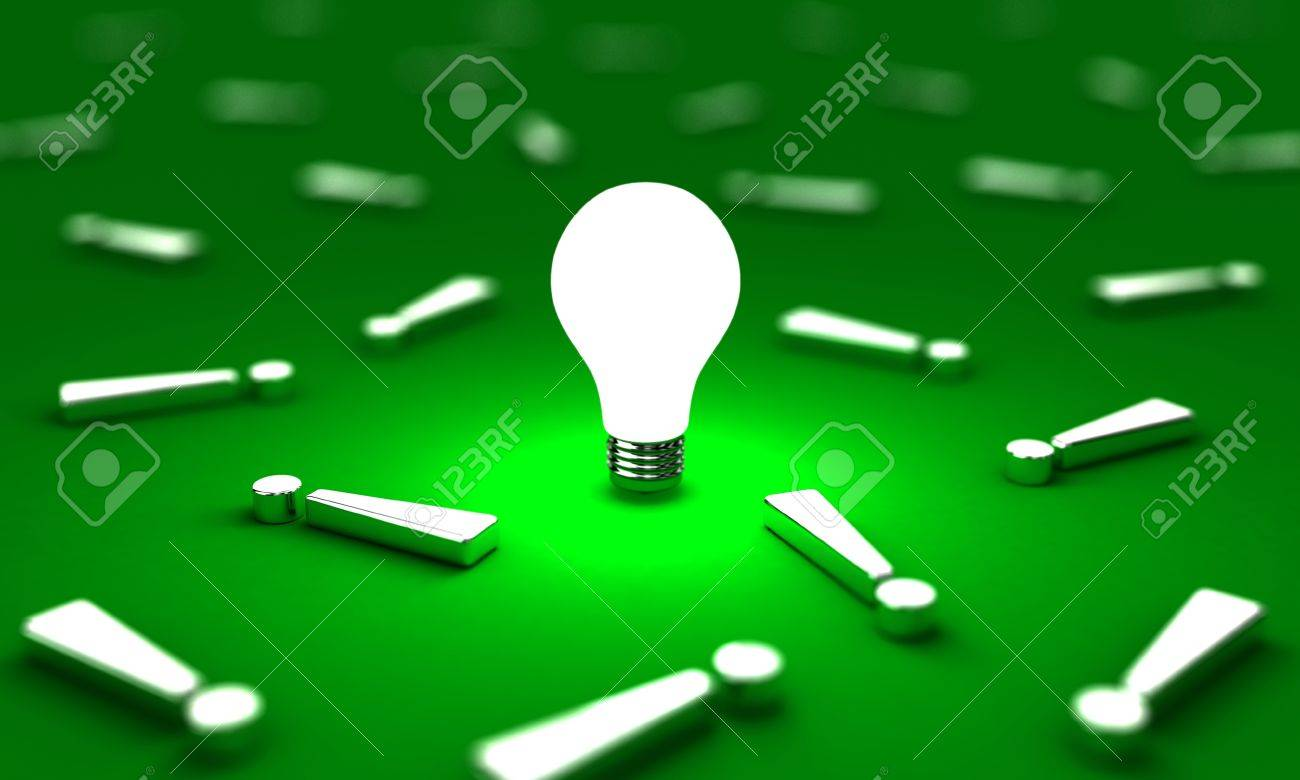 Many exclamation mark with one lightbulb on a green background Stock Photo - 14241720