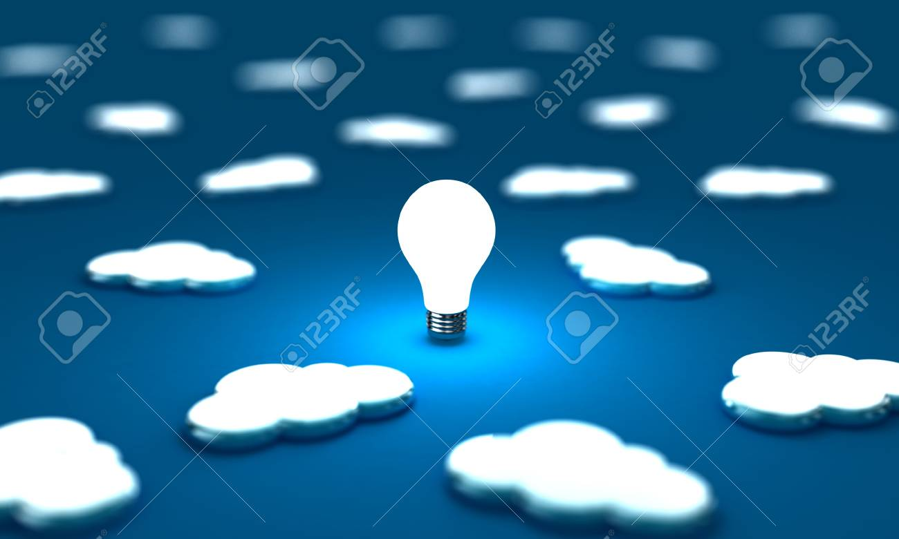 Many clouds with one lightbulb on a blue background Stock Photo - 14639868