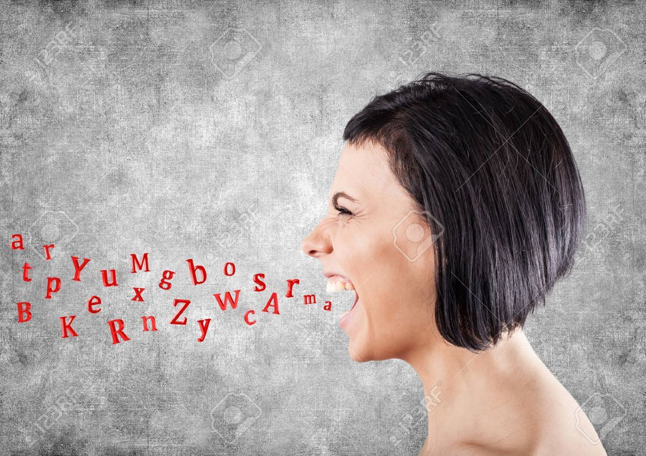 Malicious girl shouts and letters fly from a mouth Stock Photo - 18151151