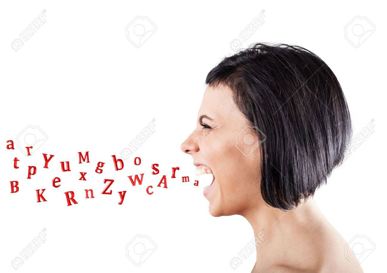 Malicious girl shouts and letters fly from a mouth Stock Photo - 18178636
