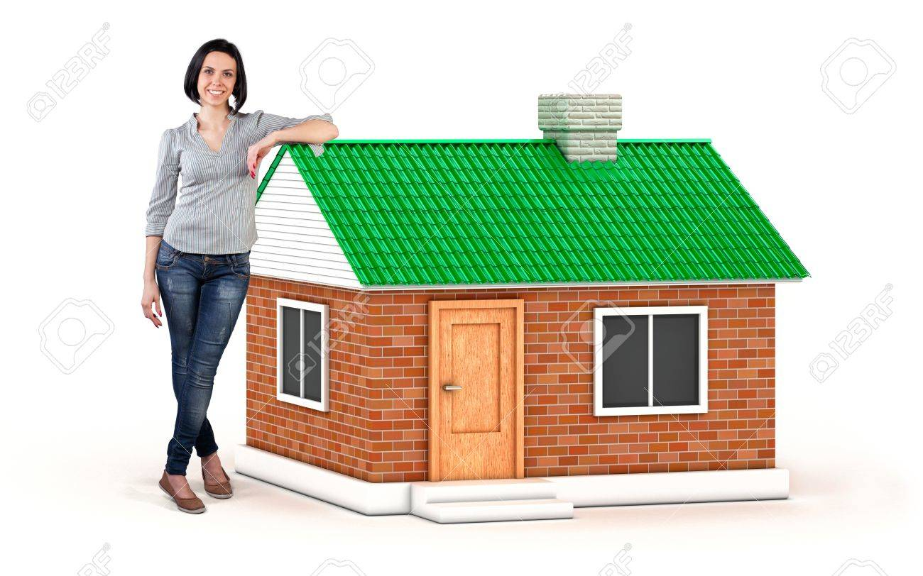 Photo of the girl near the beautiful new house Stock Photo - 20204742