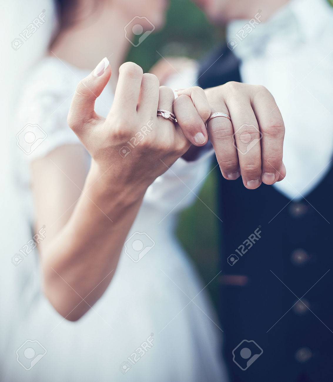 Beautiful gold rings for ceremony on wedding - 65841029
