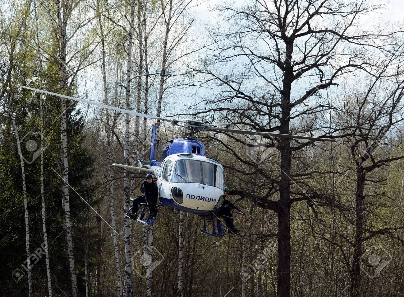 Elicottero 355 : Swat fighters on a police helicopter as stock photo picture