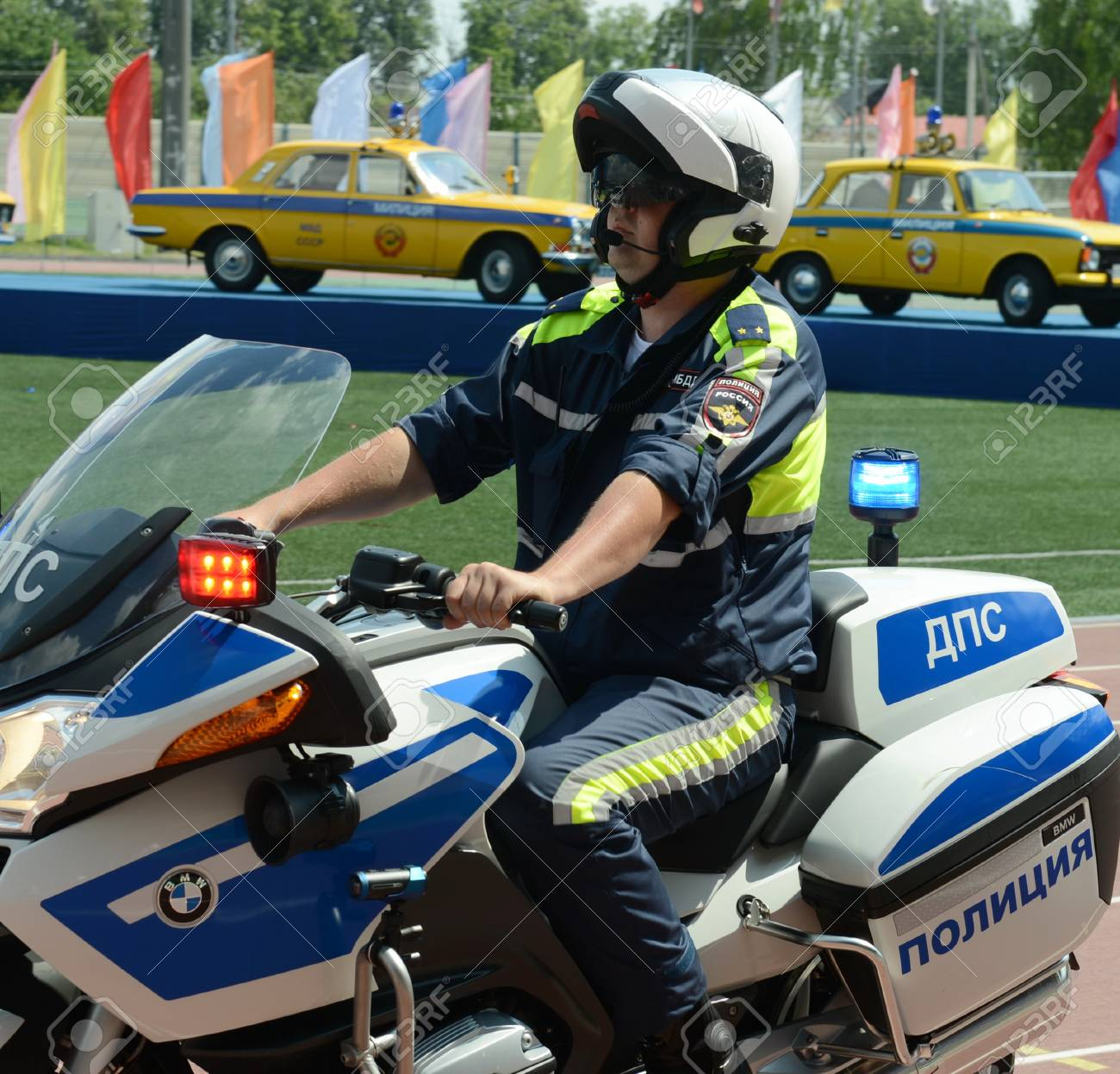 The Inspector Of Traffic Police Motorcycle Bmw Leaves To Patrol Stock Photo Picture And Royalty Free Image Image 75600487