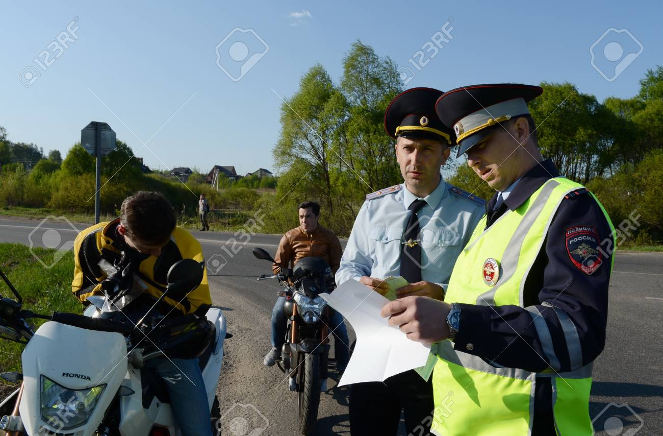 Employees Of Traffic Police Draw Up A Protocol On Violation Of