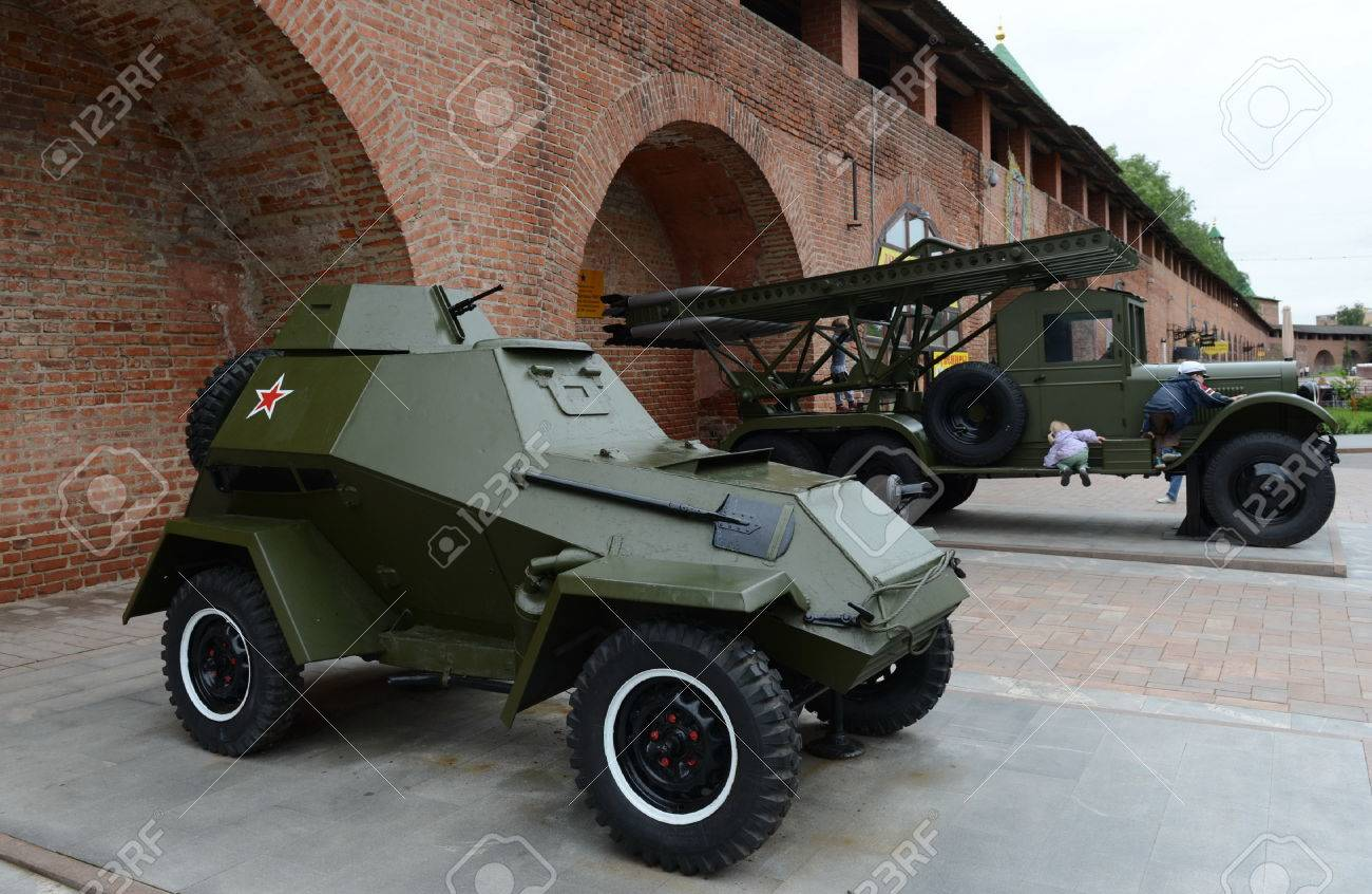 The armored car BA-64 and BM-13 (Katyusha) is a Soviet machine