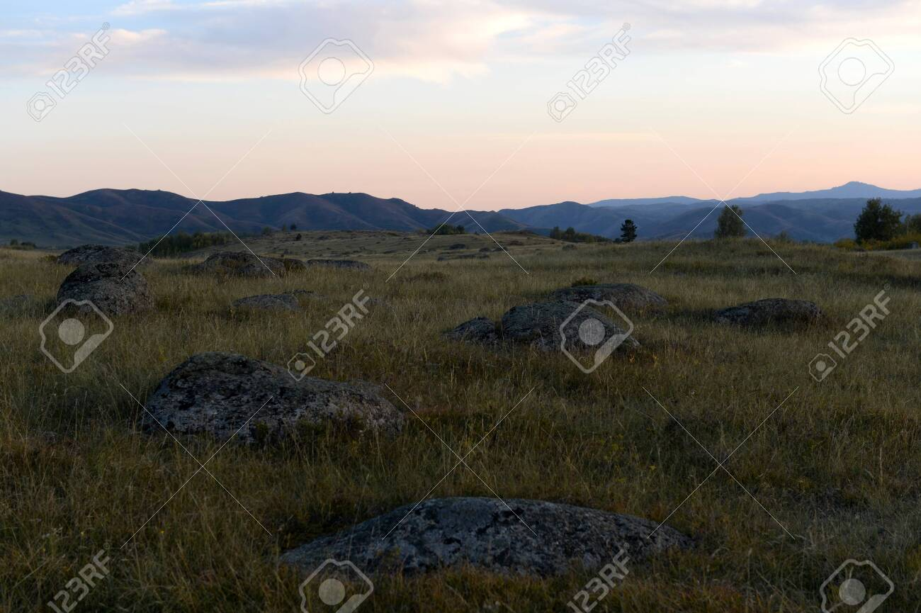 An evening in the Altai mountains near the Charysh River. Western siberia - 130514000