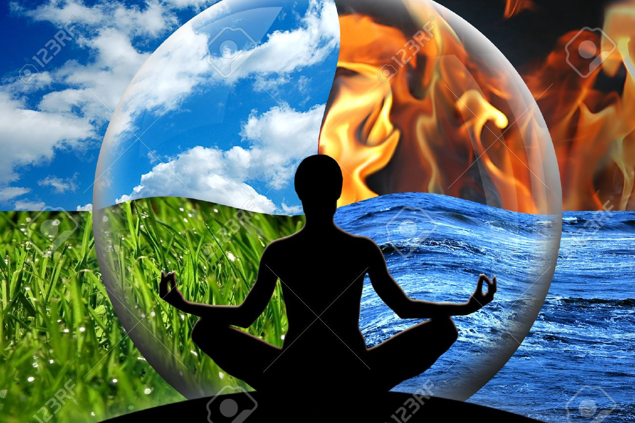 Female yoga figure in a transparent sphere, composed of four natural elements water, fire, earth, air as a concept for controlling emotions and power over nature - 24842398