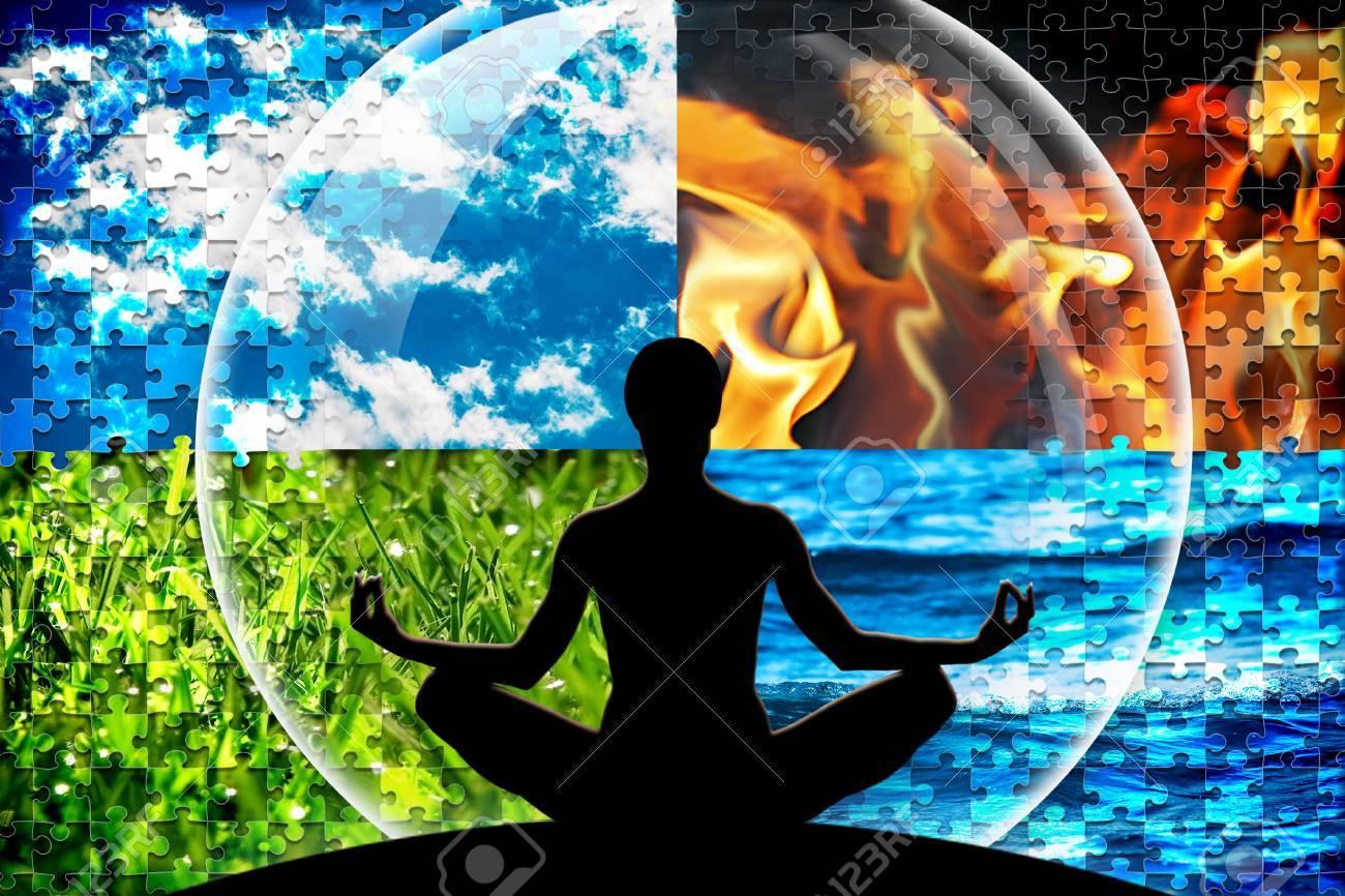 Weibliche Yoga Figur In Einem Kreis Aus Vier Puzzle Geschnitten